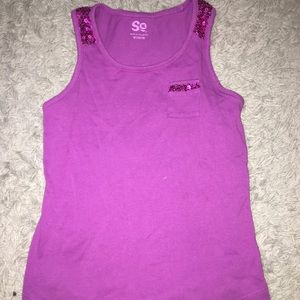 Girls Purple Sequence Tank Top
